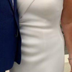 Jovani, Neoprene Strapless Wedding Dress, Ivory, Size 12 (but I wear a size 10)
